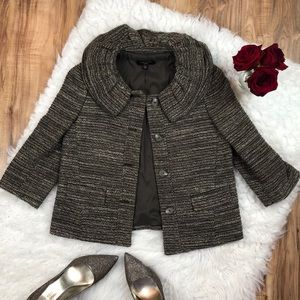 Ann Taylor Sz 4p brown tweed coat